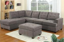 SALE! 3 Piece Modern Grey Charcoal Reversible Sectional Sofa
