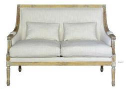 Settee Couch with Linen Cover Fabric and Aged Birch Wood Tri