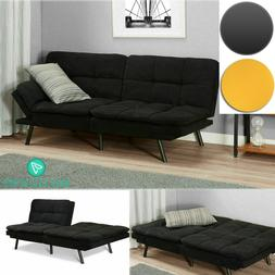 Sleeper Sofa Bed Black Suede Convertible Couch Modern Living
