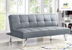 Sleeper Sofa Bed Grey Convertible Couch Guest Futon Loveseat