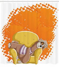 Sloth Shower Curtain Lazy Female on the Couch Print for Bath