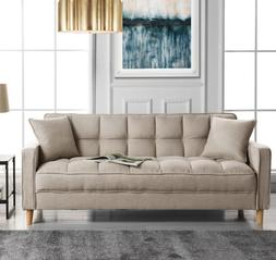 Small Space Sofa Loveseat Couch Tufted Linen Seats 2-3 Mid C