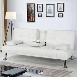 SOFA BED SLEEPER Modern White PU Leather Futon Convertible C