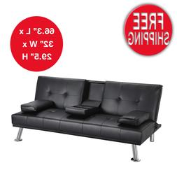 Sofa Loveseat Sleeper Couch Modern PU Leather Futon Cupholde