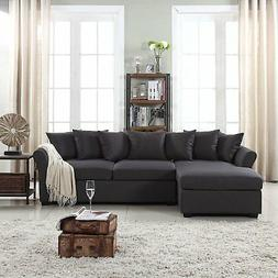 Soft Linen Fabric Sectional Sofa, L-Shape Couch with Extra W