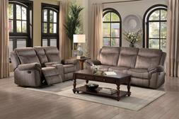 SOHO Modern Living Room Couch Set Furniture BROWN Fabric Rec
