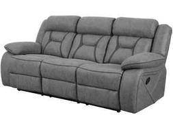 STONE GREY LEATHERETTE RECLINING SOFA COUCH LIVING ROOM FURN