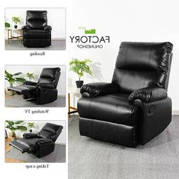 Stylish Leather Recliner Chair Manual Push-back Single Sofa
