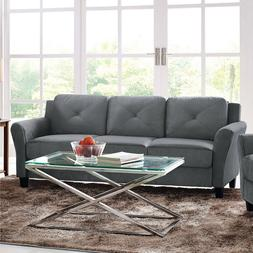 """Lifestyle Solutions Taryn 78.75"""" Curved-Arm Sofa Couch, Wood"""