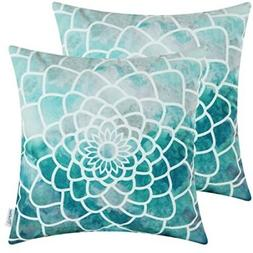 """CaliTime Throw Pillow Cover Hand Painted, 18x18"""" Print Decor"""