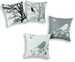 CaliTime Throw Pillow Covers, Shadow Bird Tree Branches, Can