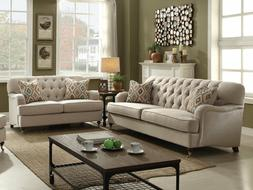 Traditional Design Living Room Beige Fabric Large Sofa Couch