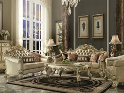 Traditional Gold Wood Trim & Ivory Faux Leather Living Room