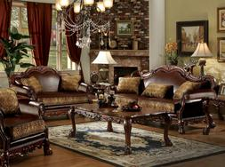 Old World Living Room Couch Set Wood Trim Brown Faux Leather