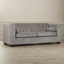 Tufted Sofa Couch Gray Charcoal Grey Velvet Microfiber Conte
