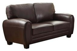 Upholstered Loveseat, Dark Brown Bonded Leather Match