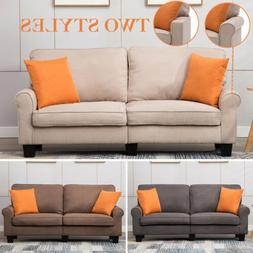 Upholstered Loveseat Sofa 2Style 3Color Linen Fabric 3 Seate