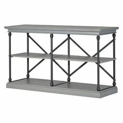 Weston Home X-Back Sofa Table with Shelf, Frosting Gray