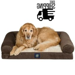 "Serta XL Round Bolster Couch Pet Bed 40""x 30""  Brown FREE SH"