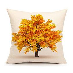 4TH Emotion Yellow Fall Tree Throw Pillow Case Cushion Cover